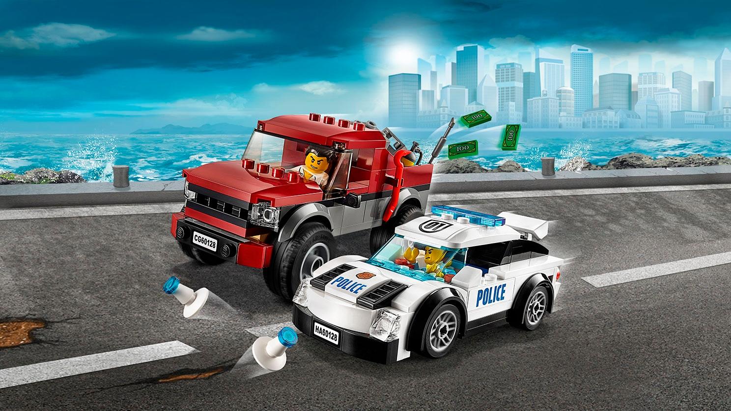 Грузовик-пикап и полицейский суперавтомобиль LEGO City — Полицейская погоня (60128)