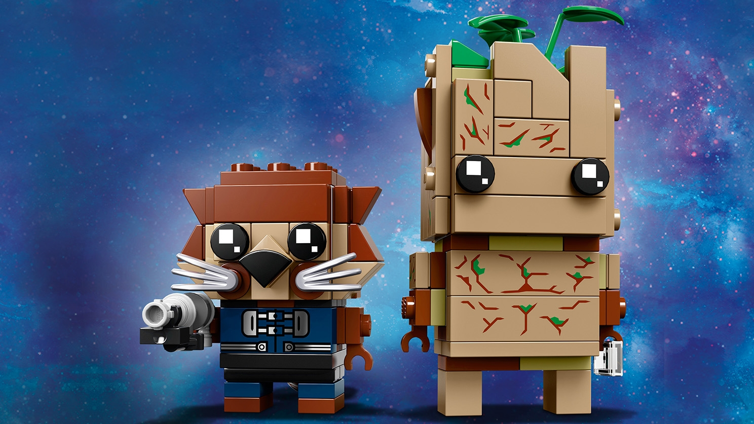 LEGO Brickheadz - 41626 Groot and Rocket - Build LEGO Brickheadz version of these two characters from the movie Avengers: Infinity War and display them on individual baseplates.