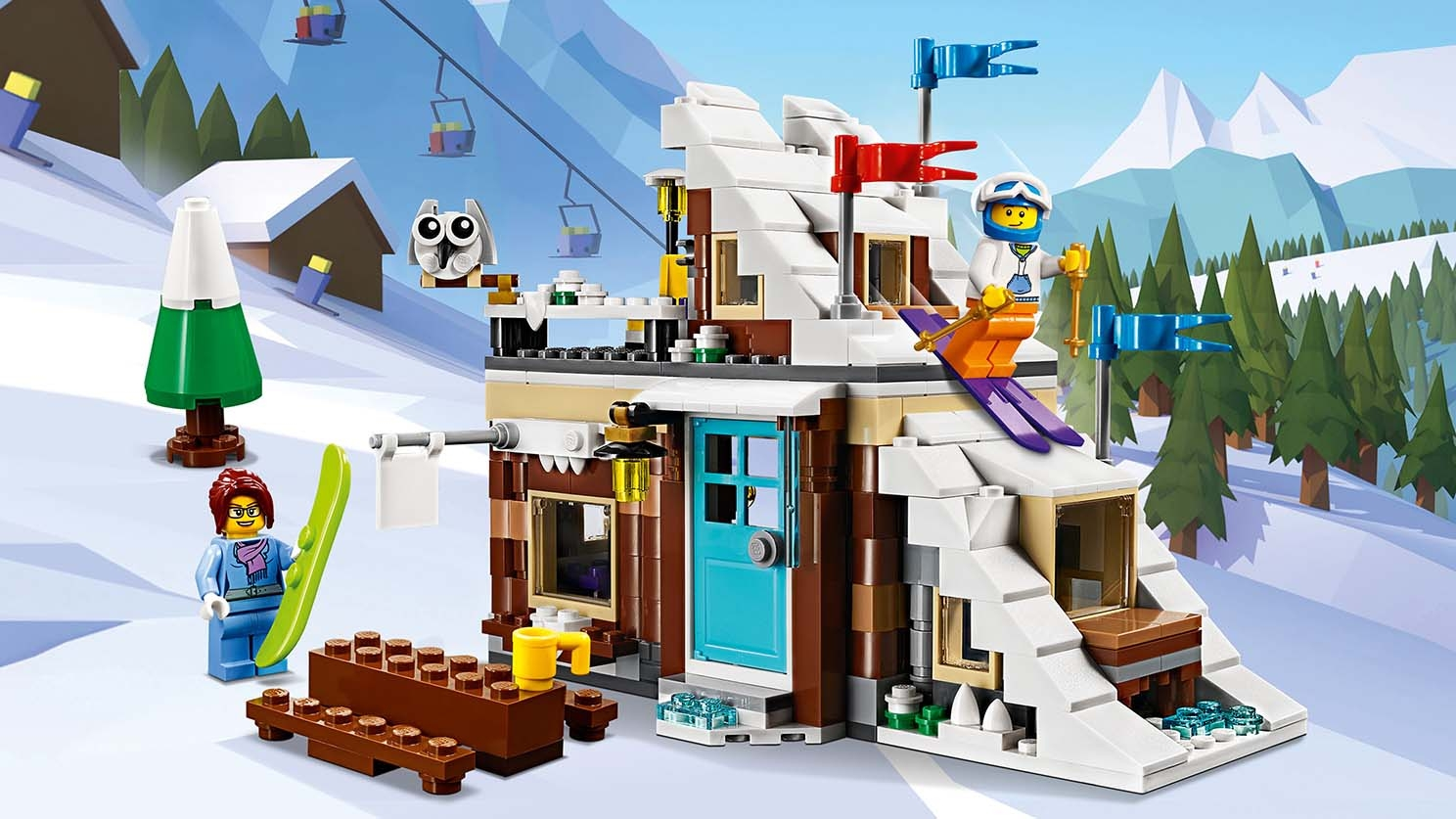 LEGO Creator 3-in-1 Modular Winter Vacation - 31080 - A man is skiing down a cozy ski cabin's roof.
