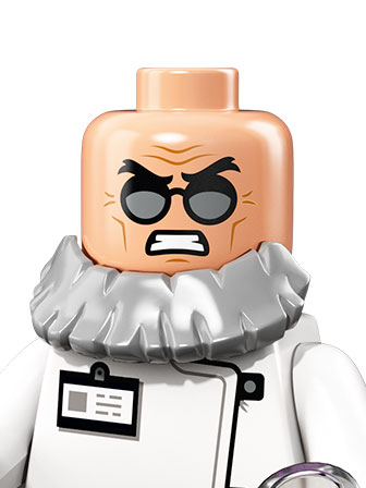 A portrait of an angry Hugo Strange and white mad scientist outfit
