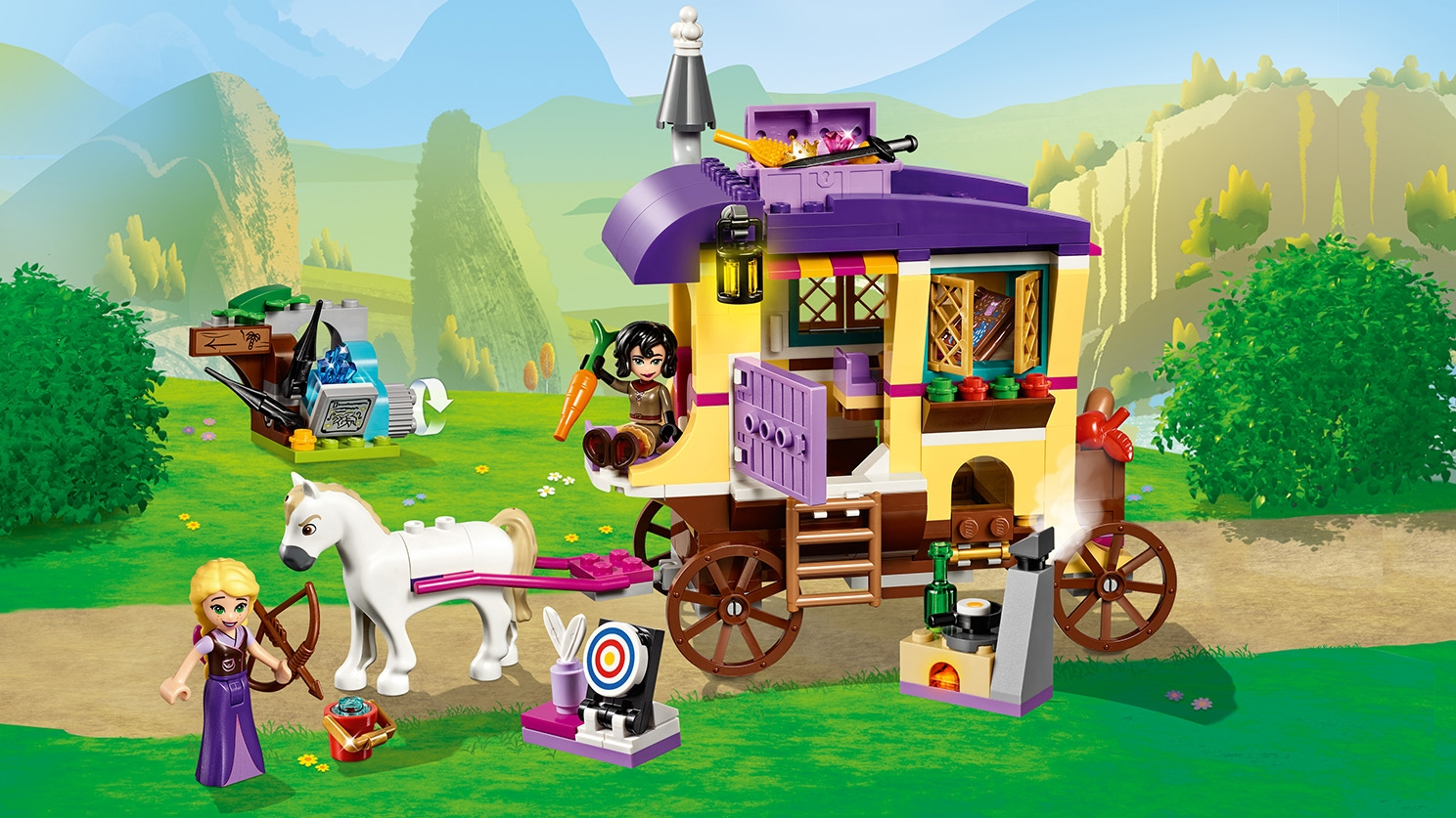 LEGO Disney - 41157 Rapunzel's Travelling Caravan - Rapunzel practice shooting with her bow while her protector Cassandra is driving the caravan with Maximus the horse.