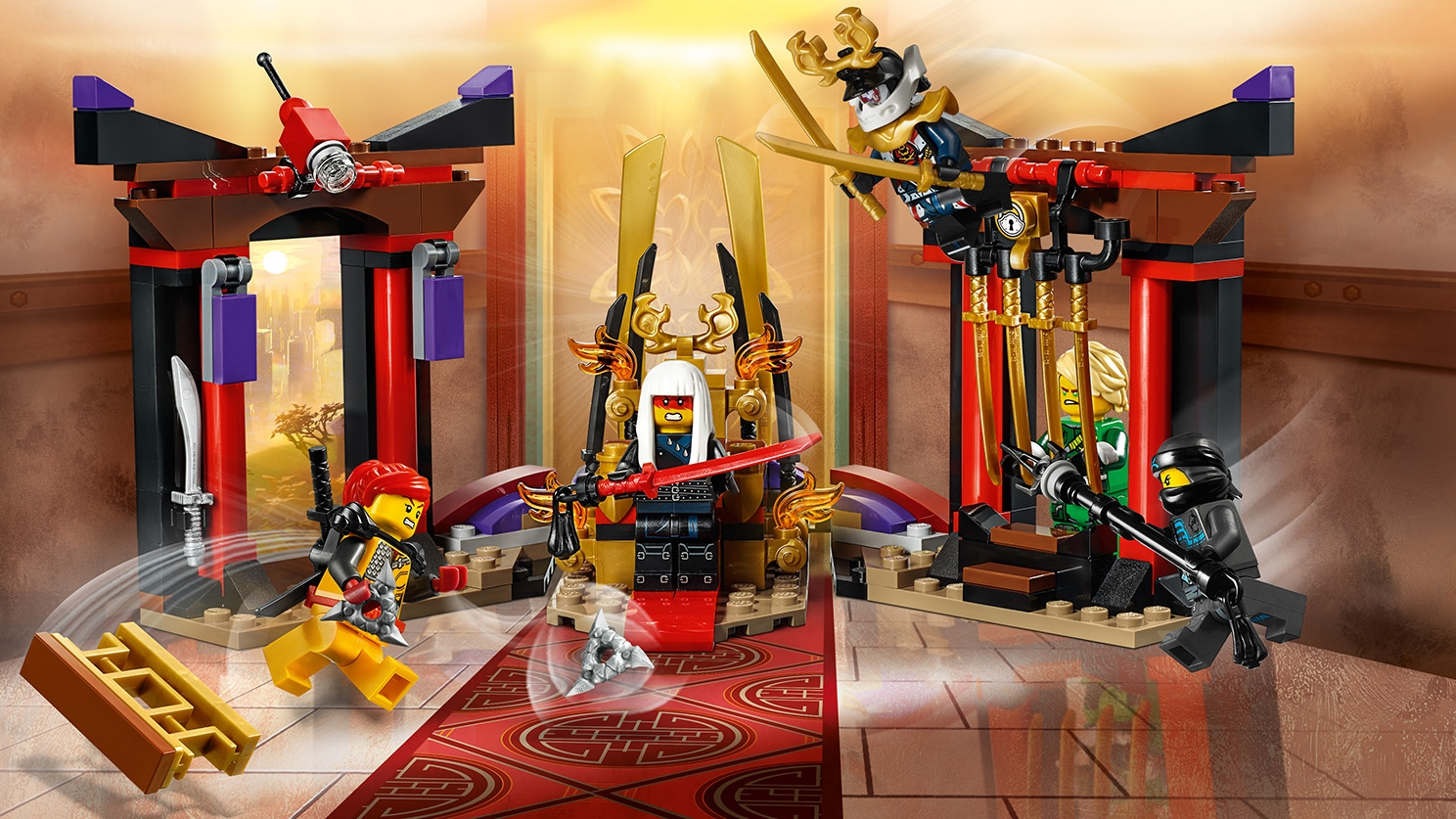 LEGO Ninjago - 70651 Thorne Room Showdown - Lloyd is trapped in the Palace of Secrets! Red haired Skylor smashes through the wall and Nya is in a face-off with Princess Harumi who has golden katanas.