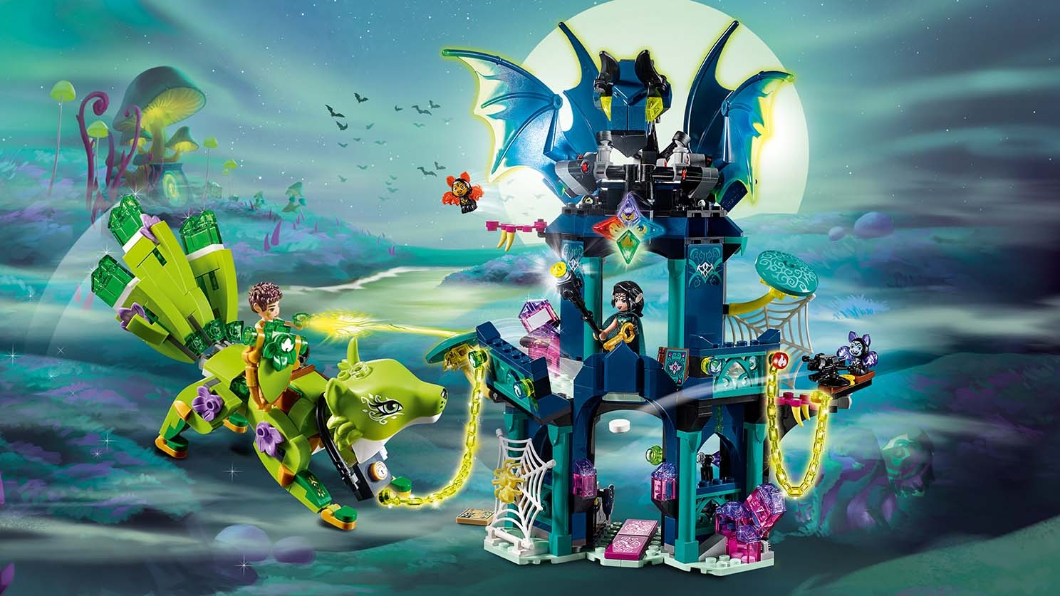 LEGO Elves - 41194 Noctura's Tower & the Earth fox Rescue - Farran is trying to rescue Liska the Guardian Earth Fox that has been captured by Noctura and chained to her Tower of Shadows.