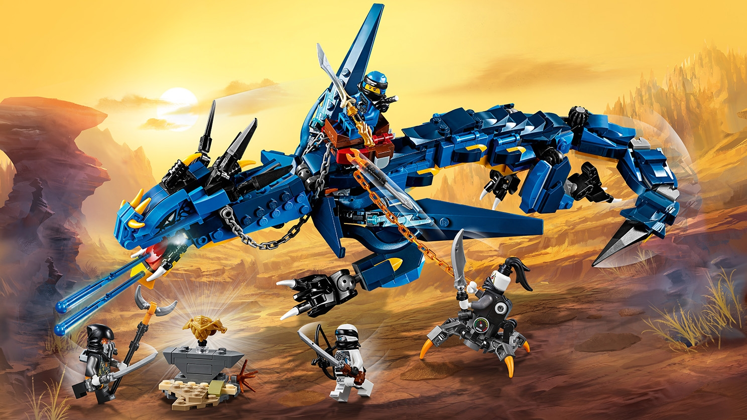 LEGO Ninjago - 70652 Stormbringer - Ride this Lightning Dragon with Jay and fire lightning bolts at the evil guys Daddy No Legs and Muzzle.