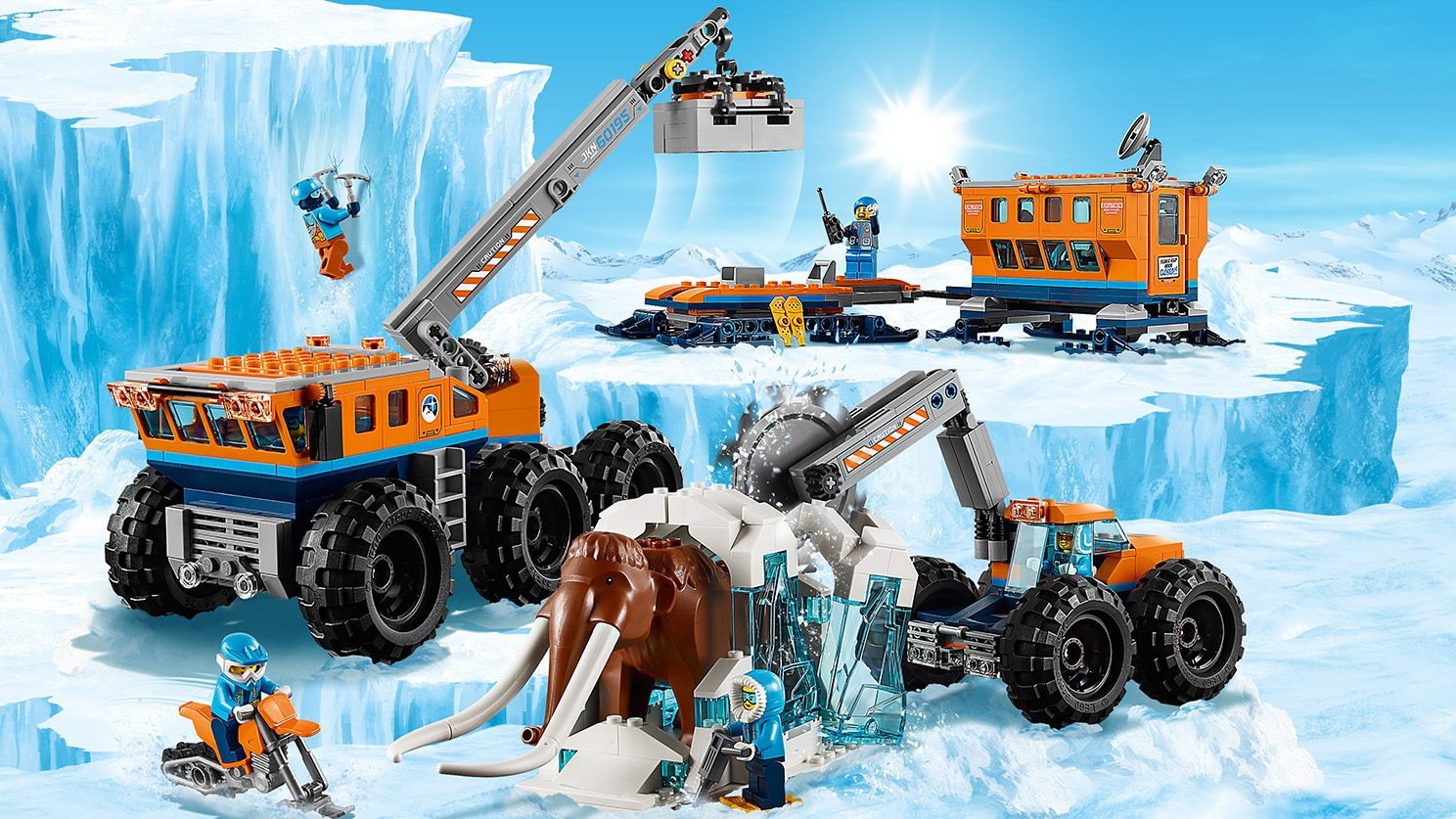 LEGO City Arctic Expedition - 60195 Arctic Mobile Exploration Base - The arctic workers have used all their machines and vehicles to get a mammoth up from deep inside the ice where it has been preserved.