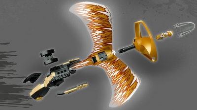 LEGO Ninjago - 70644 Golden Dragon Master - The spinjitzu is easy to assemble and consists of a handle, some ornamental dragons wings and a propeller circle.