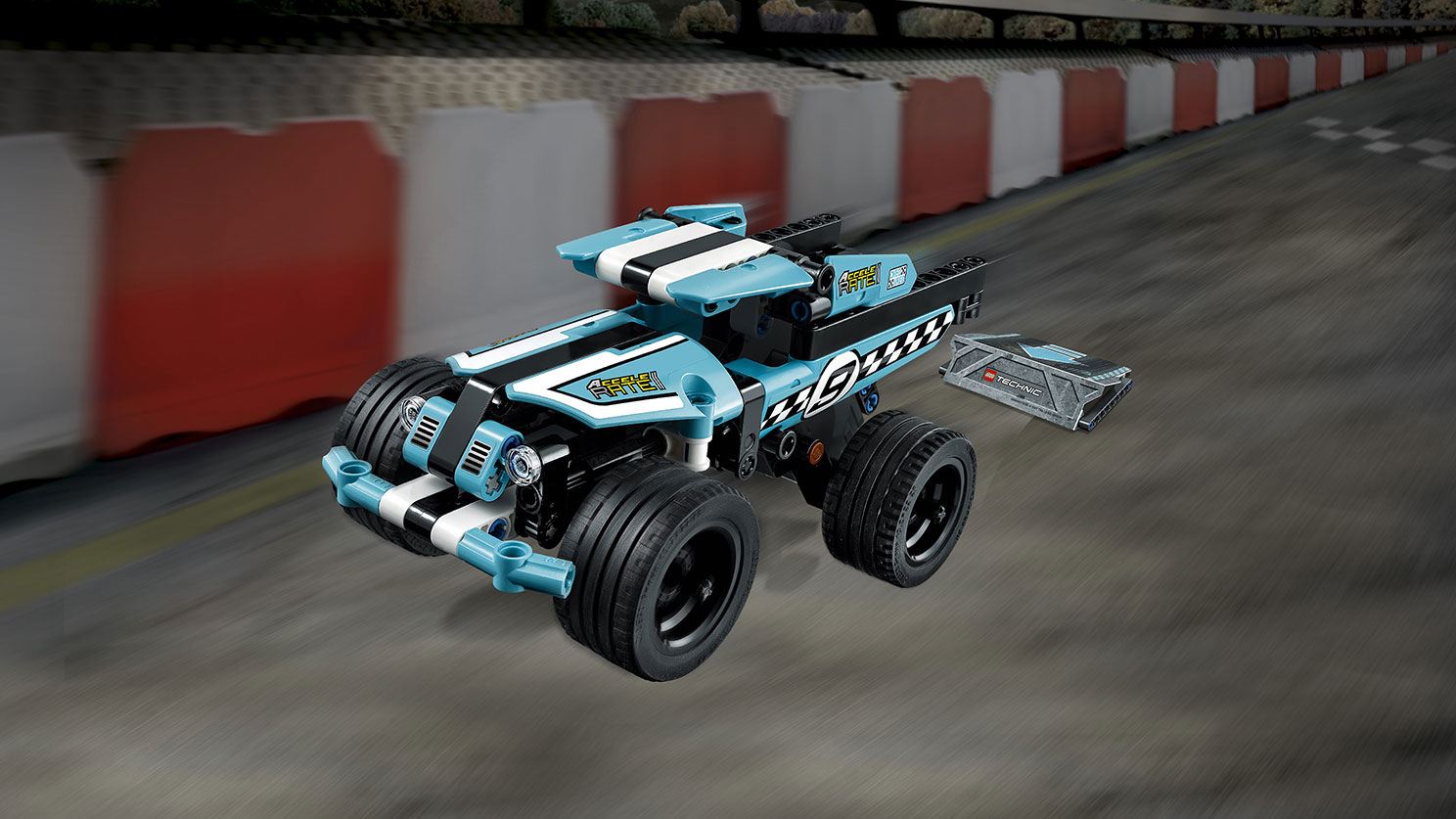 LEGO Technic - 42059 Stunt Truck - Activate the pull-back motor of the rugged Stunt Truck with checkered racing stickers, sturdy front bumper and wide blue rims with low profile tires for ultimate grip.