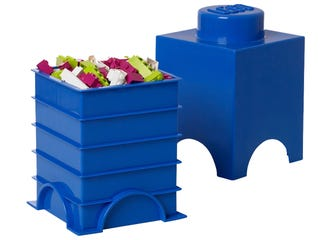 Brique de rangement LEGO® bleue 1 tenon