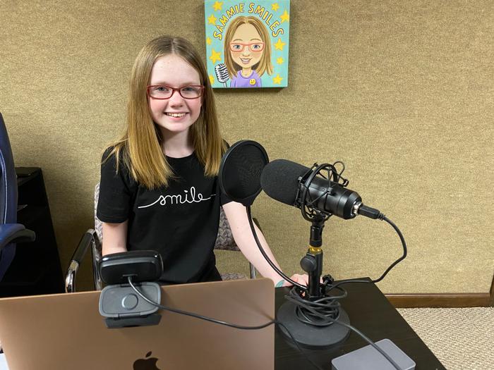 Sammie's podcast set-up