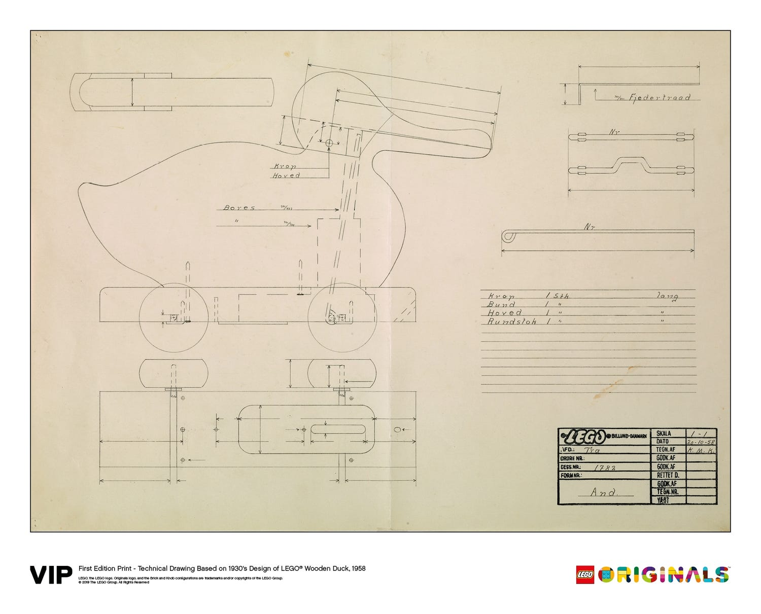 Technical Drawing Wooden Duck 1958