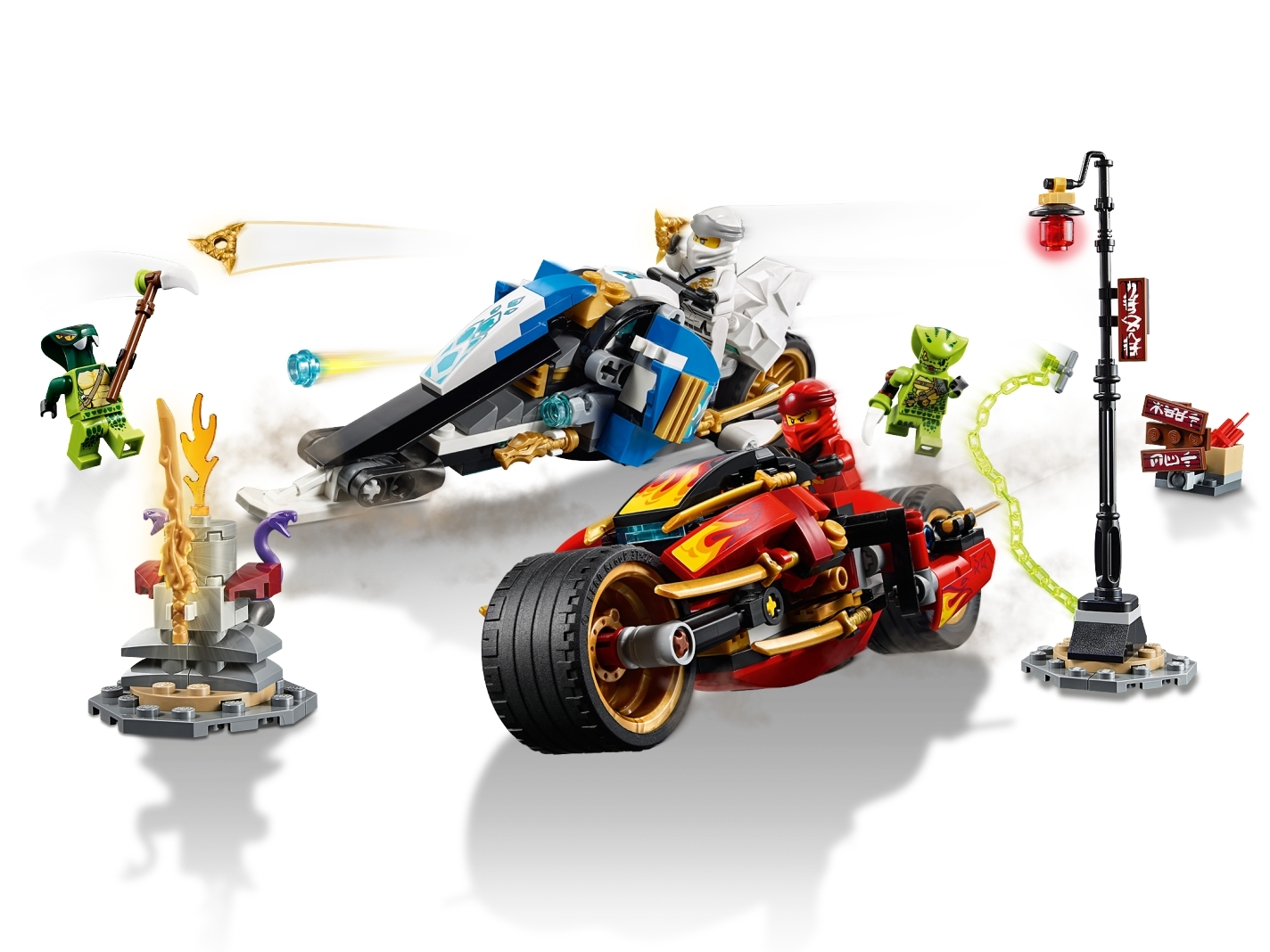 LEGO 70667 Ninjago Kai/'s Blade Cycle /& Zane/'s Snowmobile Retired Set New Sealed
