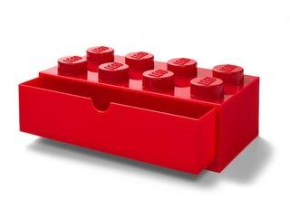 Brique de rangement rouge LEGO® à tiroir et à 8 tenons