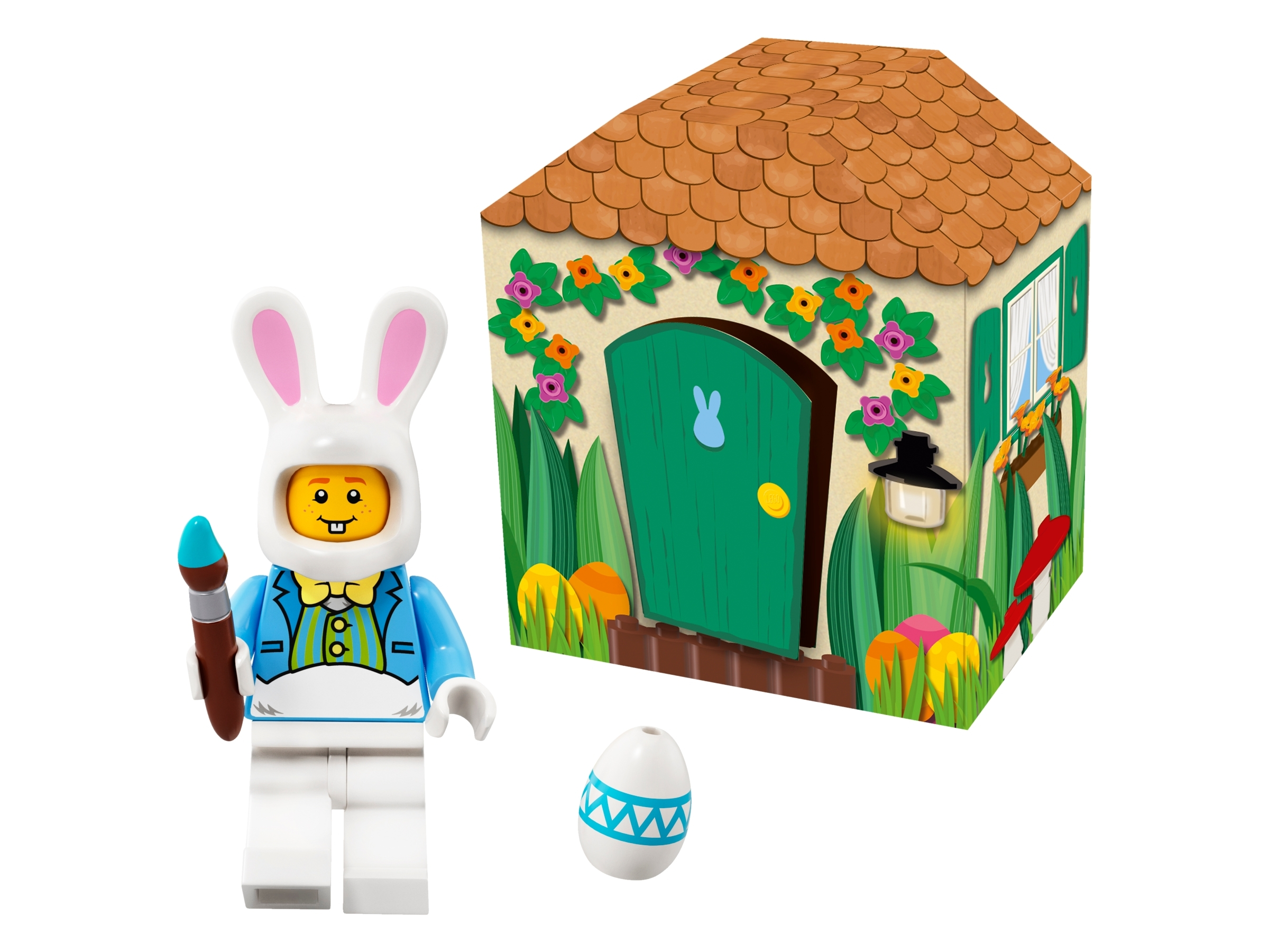 Lego Easter Bunny Minifigure with Paintbrush and Decorated Egg