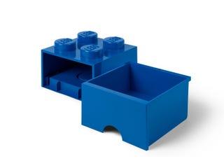 Brique bleue de rangement LEGO® à tiroir et à 4 tenons