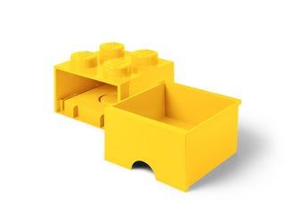 Brique jaune de rangement LEGO® à tiroir et à 4 tenons