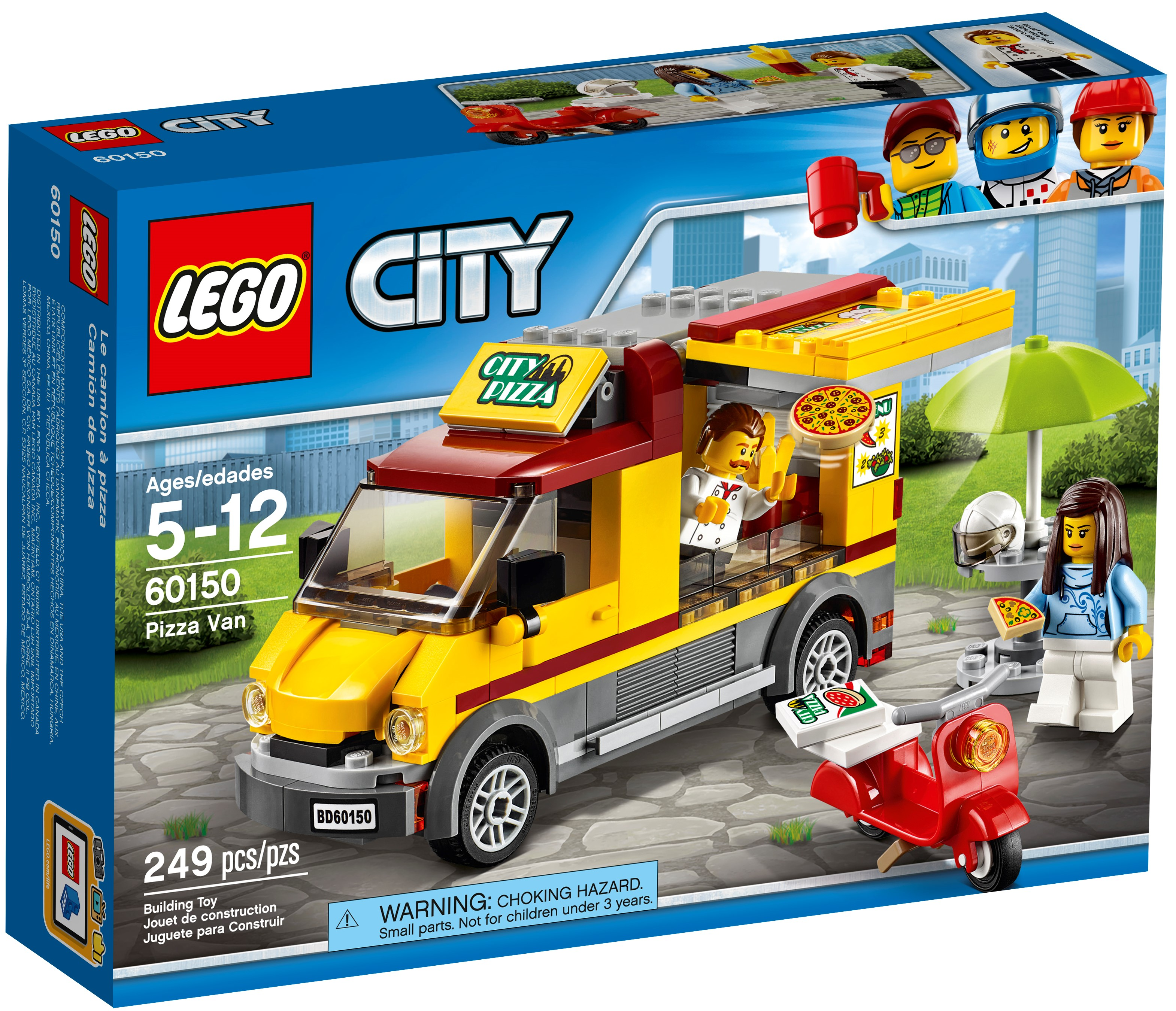LEGO 60150 City Great Vehicles Pizza Van Scooter Table With Parasol Building Set