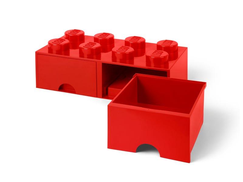 Ladrillo de almacenamiento rojo de 8 espigas con cajones LEGO®