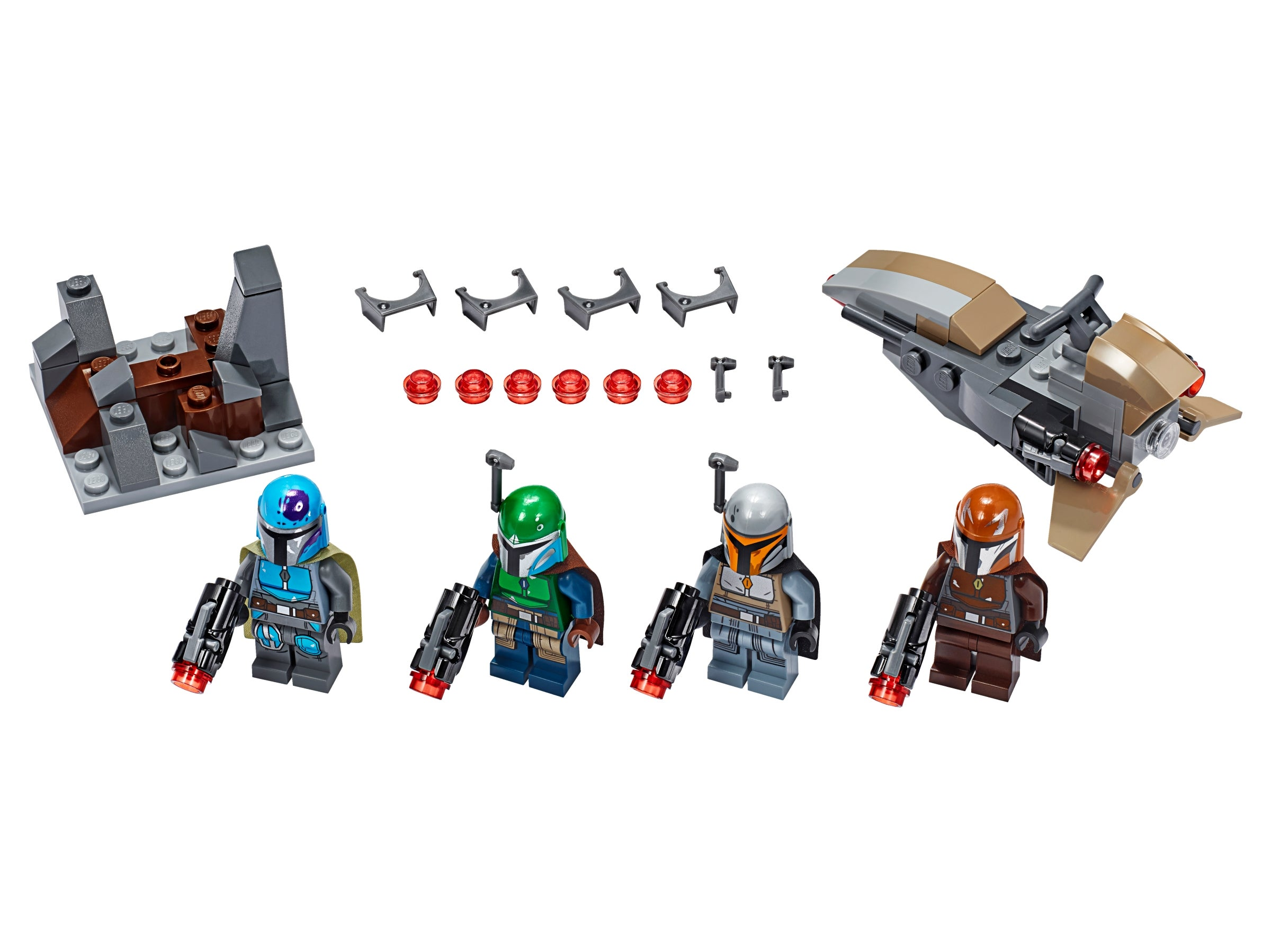 lot of 4 Star Wars Mandalorian minifigures 75267 GENUINE LEGO All 4 Colors
