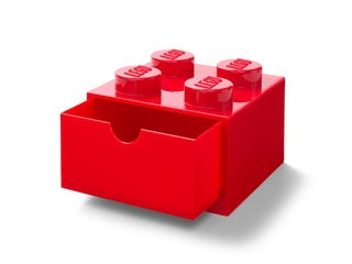 Brique de rangement 4 plots rouge avec tiroir LEGO®
