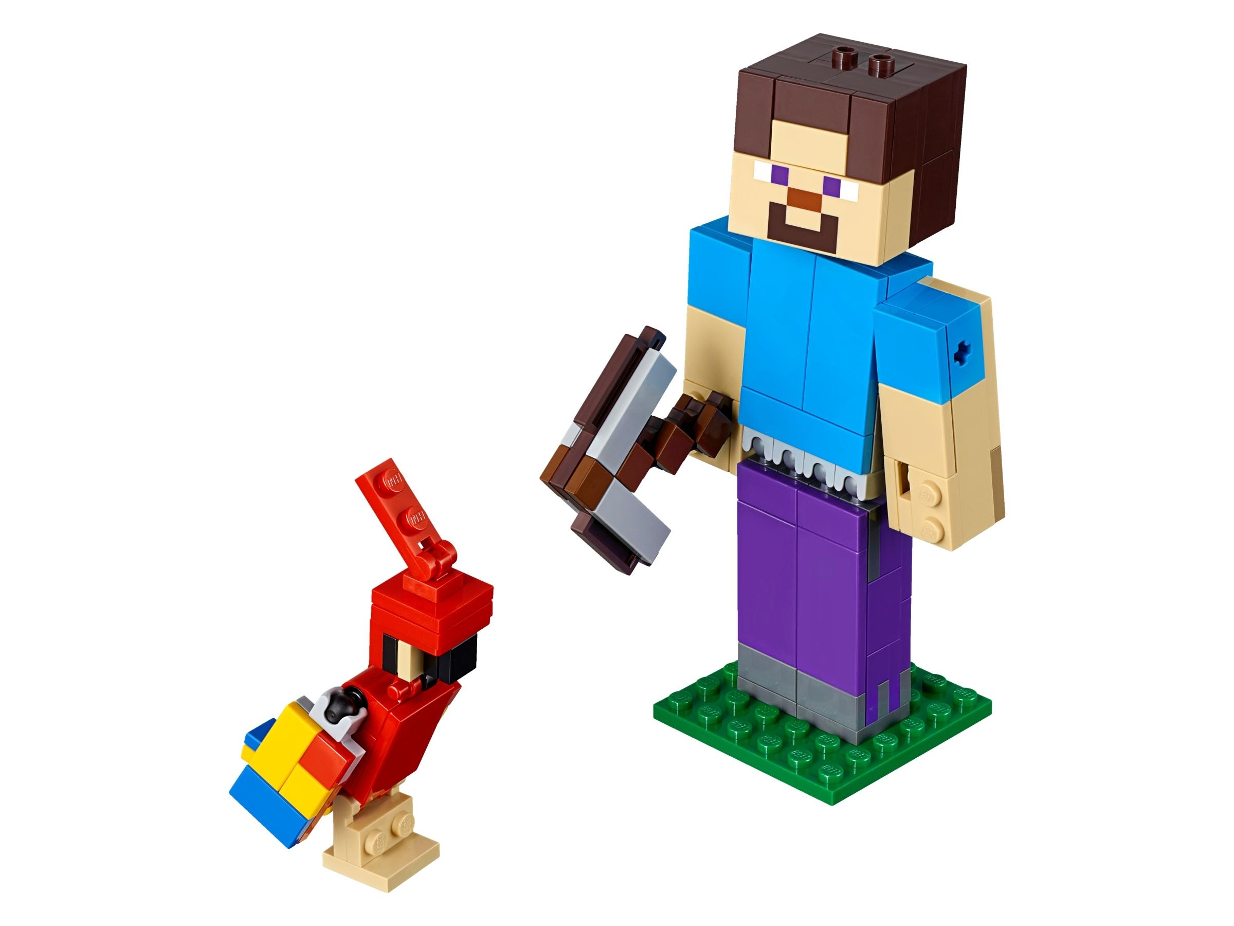 Lego Minecraft Steve BigFig with Parrot