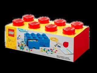 Brique rouge de rangement LEGO® à tiroir et à 8 tenons