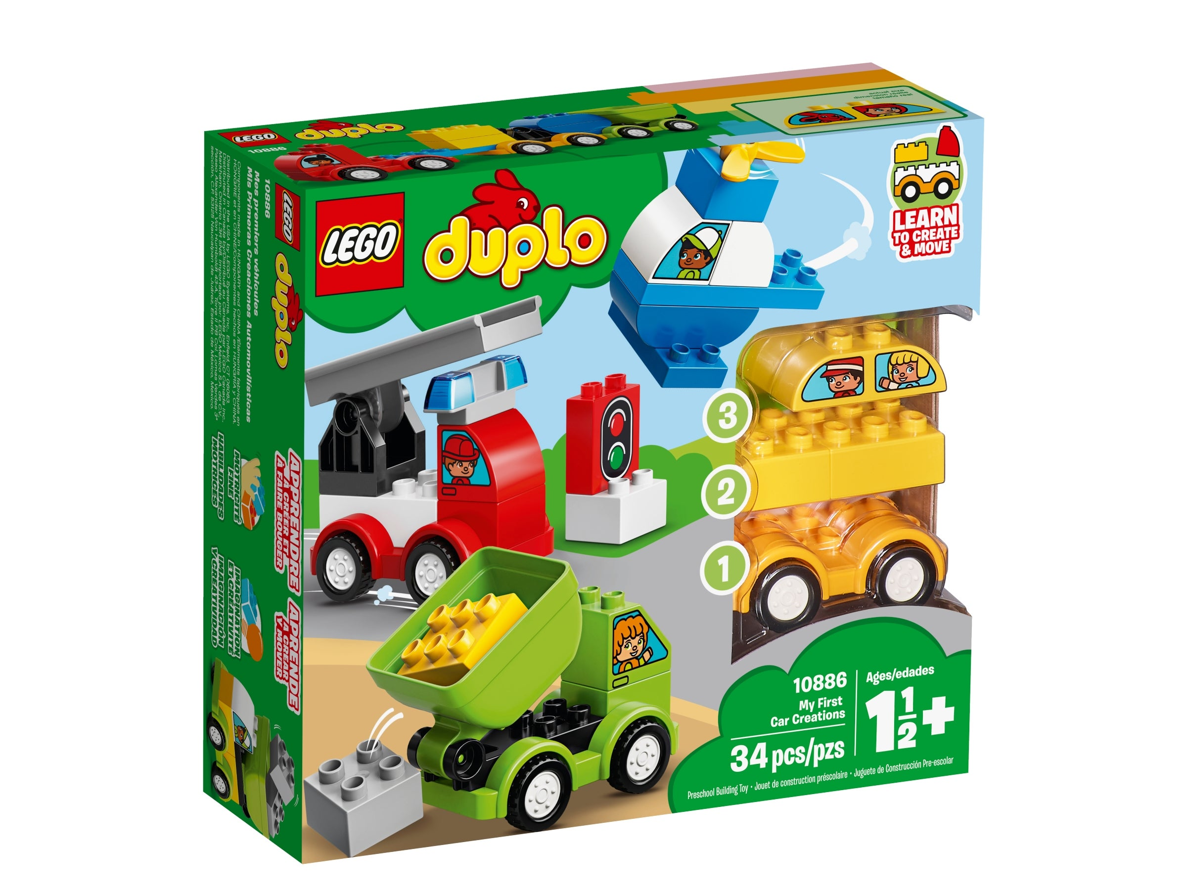 Lego My First Car Creations 10886 Learn To Create /& Move Vehicles 1.5 Years
