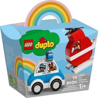 L'hélicoptère des pompiers et la voiture de police