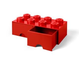 Brique rouge de rangement LEGO® à tiroir 8 tenons
