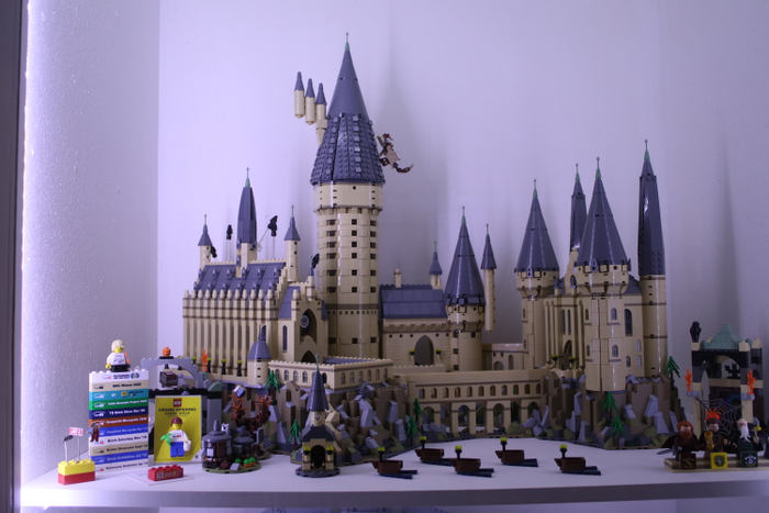 Timothy's LEGO Hogwarts Castle display, inside a converted linen cupboard! He suggests looking for the hidden nooks and spaces at home that can be reimagined.