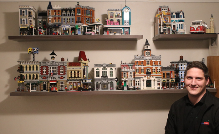 Timothy's shelf display showcases his LEGO modular buildings sets
