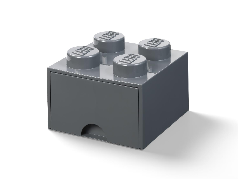 4-Stud Brick Drawer – Dark Gray