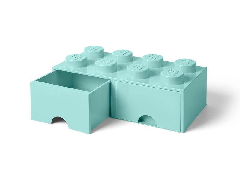 LEGO 8-Stud Aqua Light Blue Storage Brick Drawer