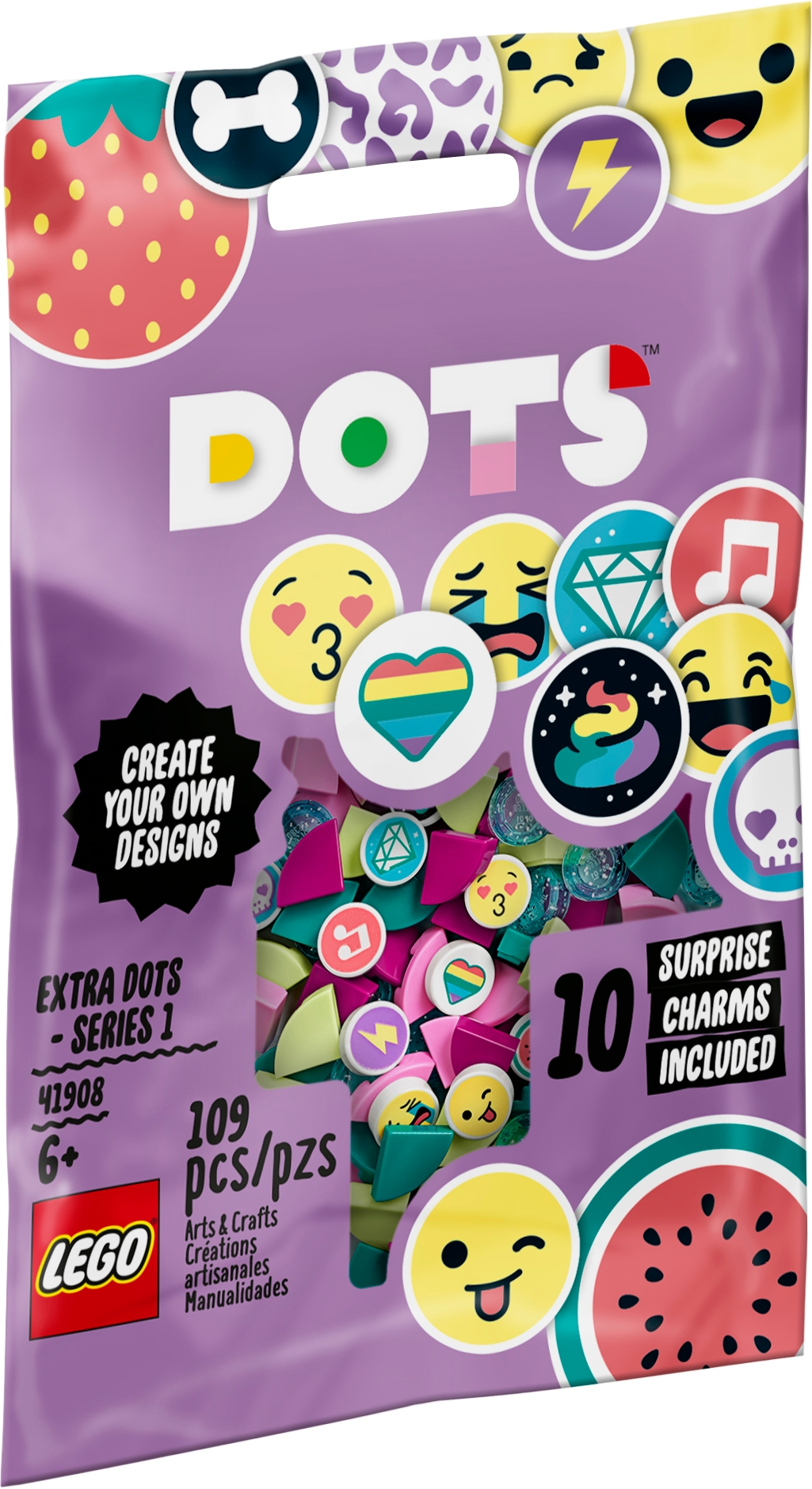 Series 1 41908 DIY Craft LEGO DOTS Extra DOTS A Fun add-on Tile Set for Kids who Like Arts-and-Crafts Play and Decorating Jewelry or Room d/écor and Prints New 2020 109 Pieces