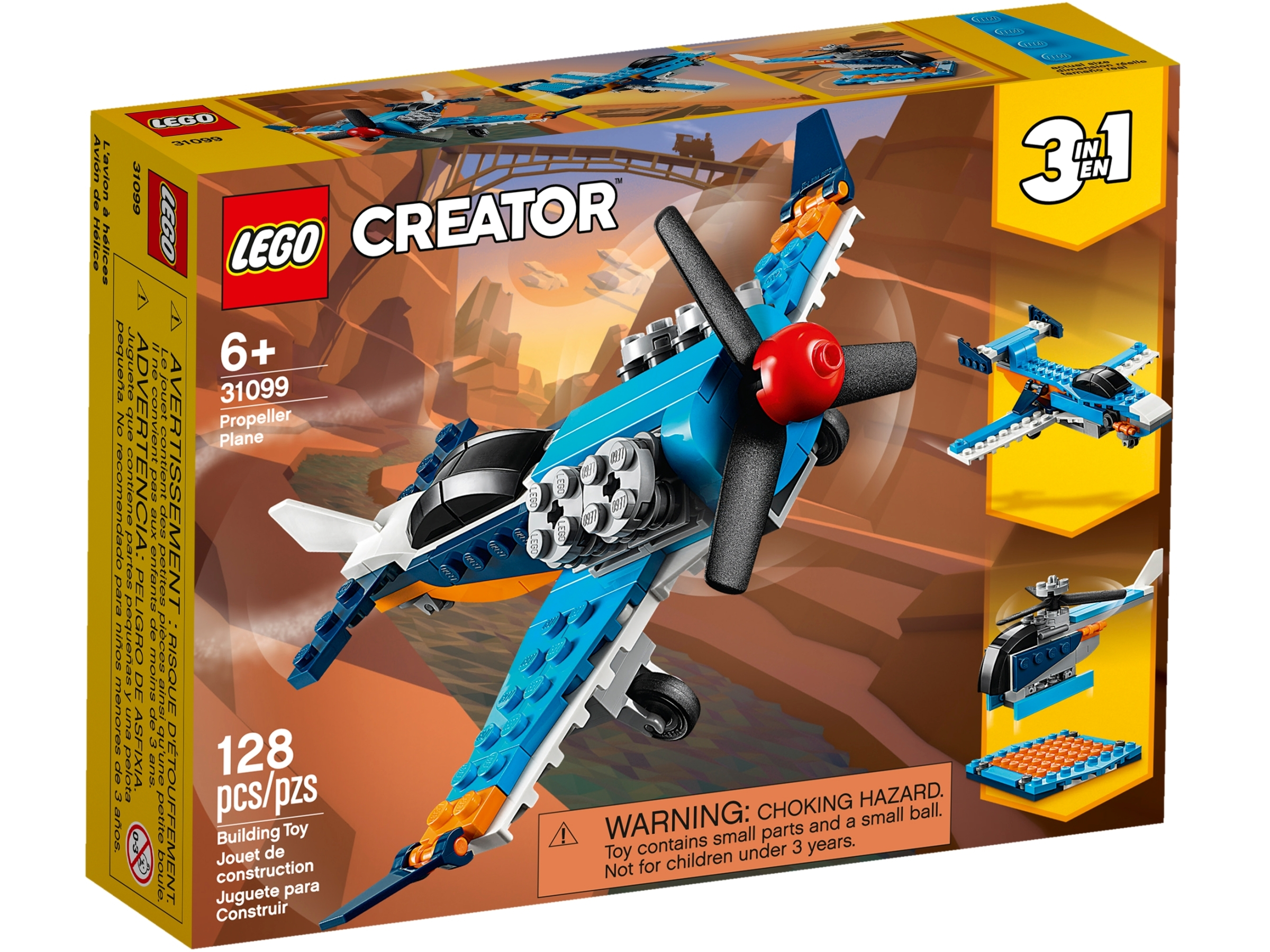 31099 LEGO Creator Propeller Plane 128 Pieces Age 6 Years+