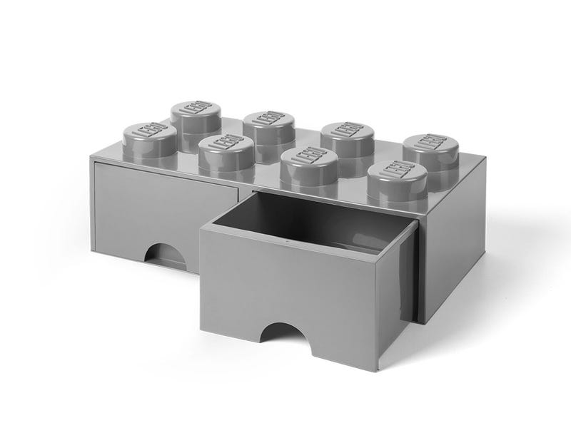 LEGO 8-Stud Medium Stone Gray Storage Brick Drawer