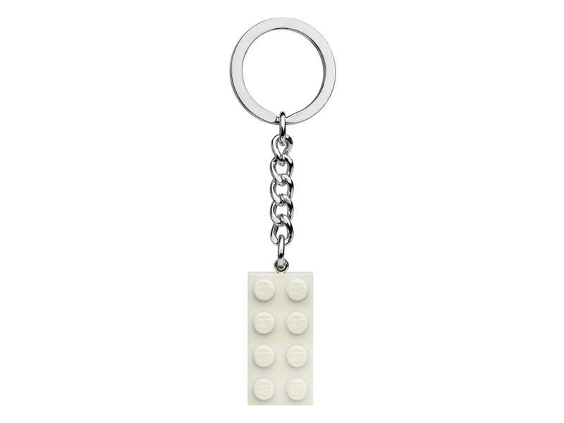 2x4 White Metallic Keyring