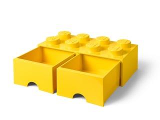 Brique jaune de rangement LEGO® à tiroir et à 8 tenons