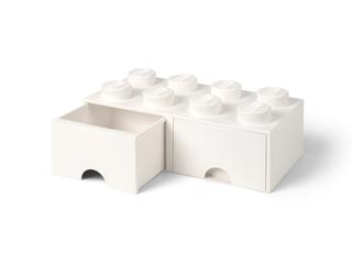 LEGO® Vit förvaringskloss med 8 knoppar och låda