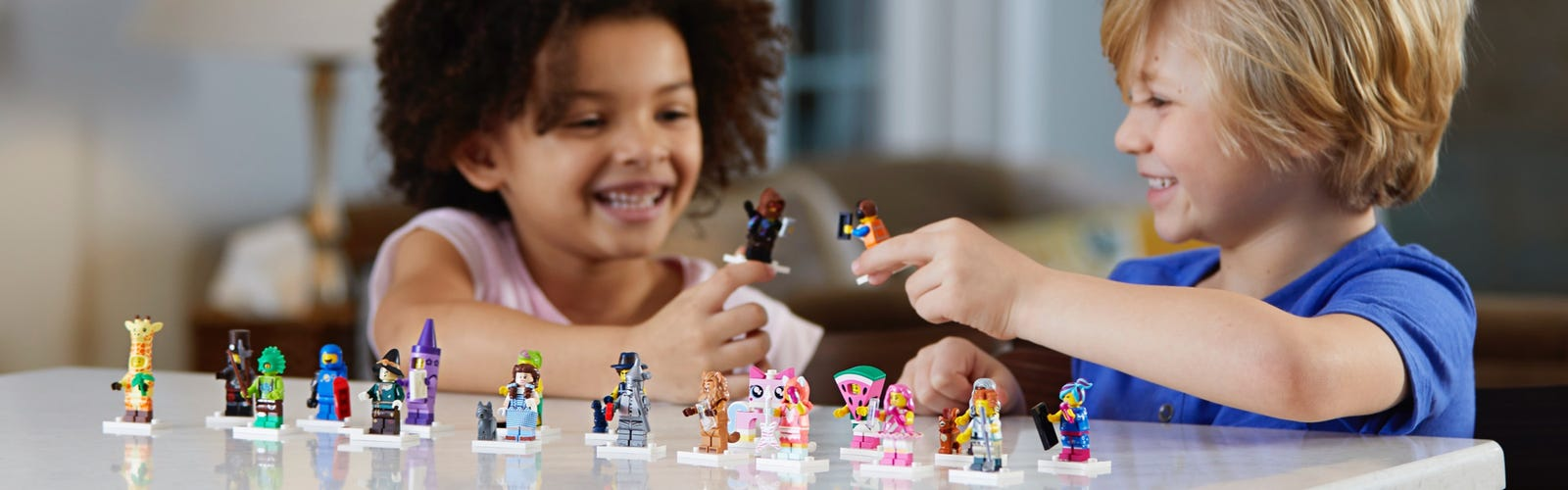Kids playing with LEGO® Minifigures