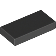Black Tile 1 x 2 with Groove