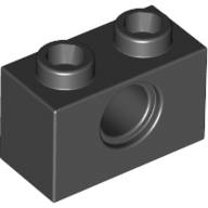 Black Technic Brick 1 x 2 [1 Hole]