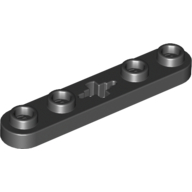 Black Technic Plate 1 x 5 with Smooth Ends, 4 Studs and Centre Axle Hole