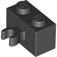 Black Brick Special 1 x 2 with Vertical Clip [Thick U Clip]