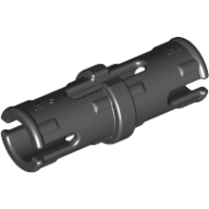 Black Technic Pin with Friction Ridges Lengthwise and Center Slots