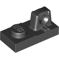 Black Hinge Plate 1 x 2 Locking with 1 Finger On Top