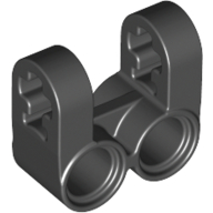 Black Technic Axle and Pin Connector Perpendicular Double Split