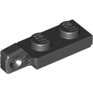 Black Hinge Plate 1 x 2 Locking with 1 Finger On End with Groove