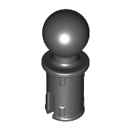 Black Technic Pin with Friction Ridges Lengthwise and Towball
