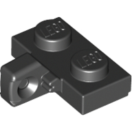 Black Hinge Plate 1 x 2 Locking with 1 Finger on Side with Groove