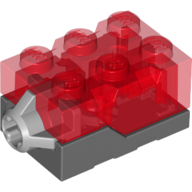 Trans-Red Light Brick 2 x 3 x 1.333 - Trans-Red Top - Red LED